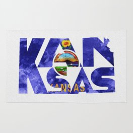 Kansas Typographic Flag Map Art Rug