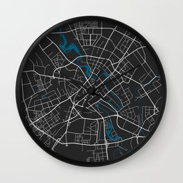 Minsk city map black colour Wall Clock