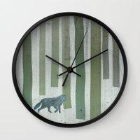 monster hunter Wall Clocks featuring Hunter by Angelo Cerantola