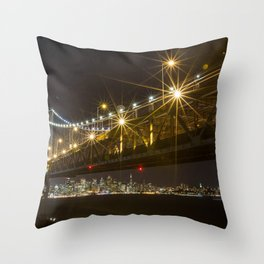 Bay Bridge at Night Throw Pillow