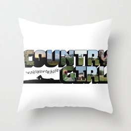 Country Girl Big Letter Throw Pillow