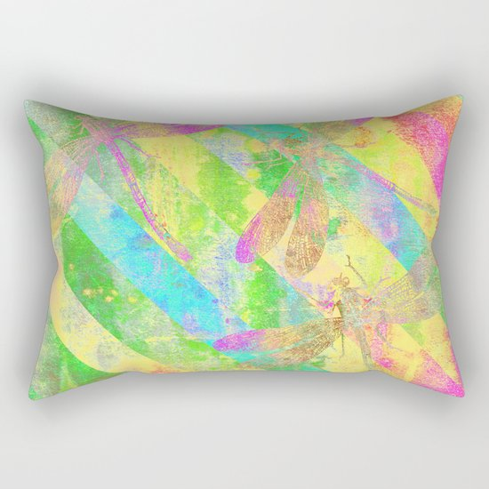 A Dragonflies and Stripes Y Rectangular Pillow