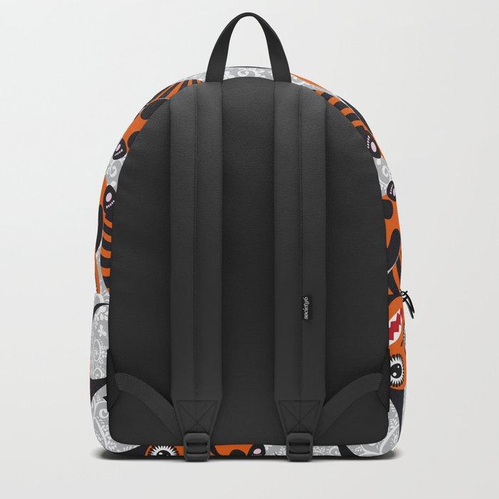 Funny orange monster Backpack