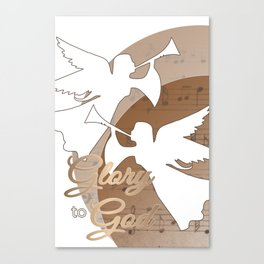 Glory to God - with Angels and Trumpets Heralding Jesus Birth Canvas Print