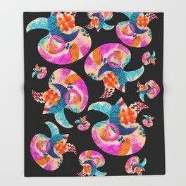 pattern with embroidered lilies Throw Blanket