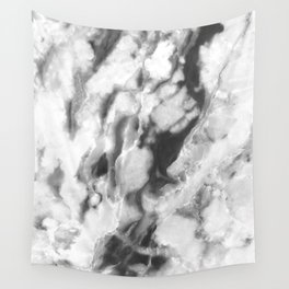 Black and Grey Marble Natural Stone Veining Quartz Wall Tapestry