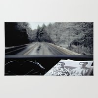 kerouac Area & Throw Rugs featuring On The Road by The Last Sparrow