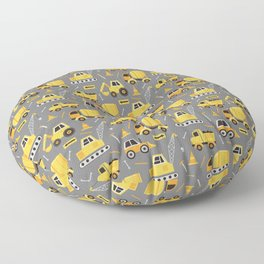 Construction Trucks on Gray Floor Pillow