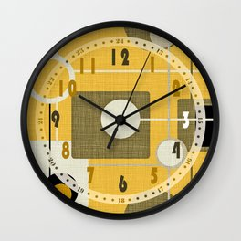 orbs and square gold yellow Wall Clock
