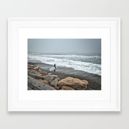 Surfer, High Tide. Torrey Pines State Beach, California. Framed Art Print