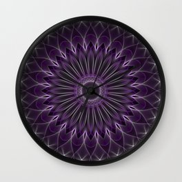 Glowing mandala in violet and silver colors Wall Clock