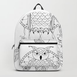 dreamcatcher with owl, yin yang, moon and sun Backpack