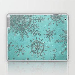 Blue and Silver Snowflakes Laptop & iPad Skin