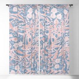 Tropical Daydream Coral Blue Sheer Curtain