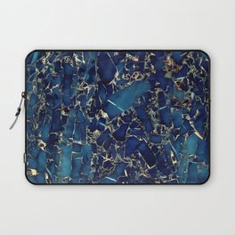 Dark blue stone marble abstract texture with gold streaks Laptop Sleeve