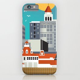 Long Beach, California - Skyline Illustration by Loose Petals iPhone Case