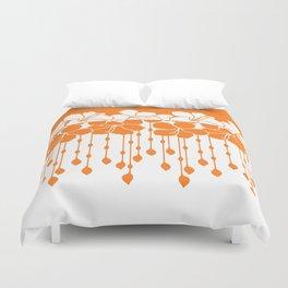 Bead Hibiscus Curtain: Ivory Orange Duvet Cover