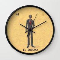 """obama Wall Clocks featuring EL OBAMA by """"dfrnt"""""""