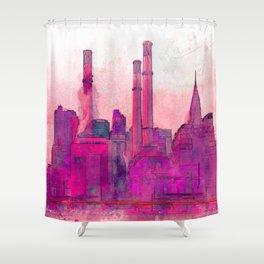 Manhatten Heating Station RED - SKETCH Shower Curtain