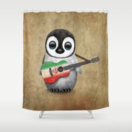 Baby Penguin Playing Iranian Flag Acoustic Guitar Shower Curtain