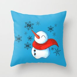 Snowmen and Snowflakes Throw Pillow