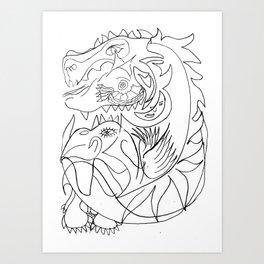 Dragon and bird Art Print
