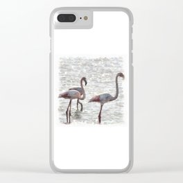 Three Flamingos Watercolor Clear iPhone Case