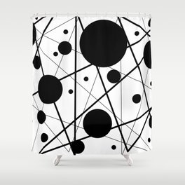 Abstract Lines and Dots Shower Curtain