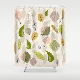 Mid Century Modern Falling Leaves Shower Curtain