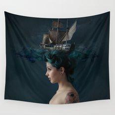 Sailing - Blue Wall Tapestry