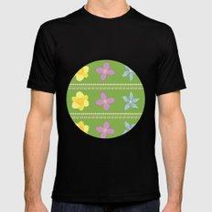 Spring Flowers Pattern [GREEN] Black Mens Fitted Tee MEDIUM