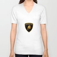 lamborghini V-neck T-shirts featuring Lamborghini black by JT Digital Art