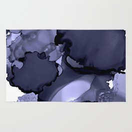 Blue-grey abstract alcohol ink art Rug