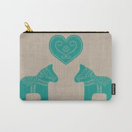 Turquoise Dala Horses on Burlap Carry-All Pouch