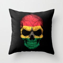 Dark Skull with Flag of Ghana Throw Pillow