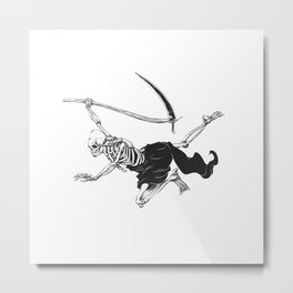 Flying reaper - gothic grim - skull cartoon - black and white Metal Print