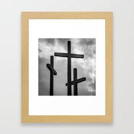 Three Crosses - Monochrome Square Art Framed Art Print