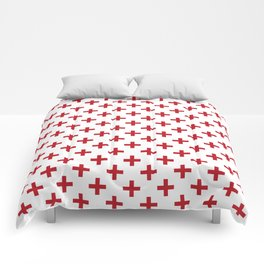 Criss Cross | Plus Sign | Red and White Comforters