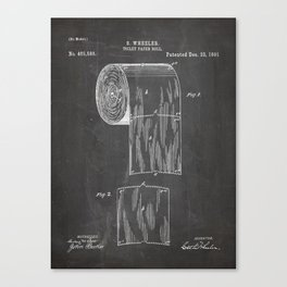 Toilet Paper Patent - Bathroom Art - Black Chalkboard Canvas Print