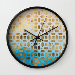 Exotic Gold Moroccan Geometric Pattern on Blue Background Wall Clock
