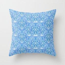 Blue Watercolor Sponge Pattern Throw Pillow