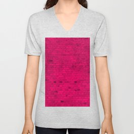 Bright Hot Pink Brick Wall Unisex V-Neck
