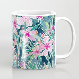 LUSH OLEANDER Tropical Watercolor Floral Coffee Mug
