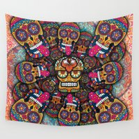 sugar skulls Wall Tapestries featuring Crazy Sugar Skulls by Spooky Dooky