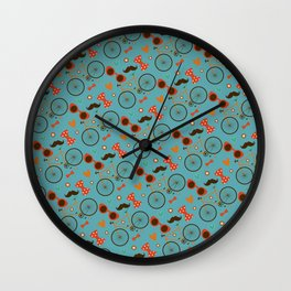 Colorful Hipster Elements Pattern on teal Wall Clock