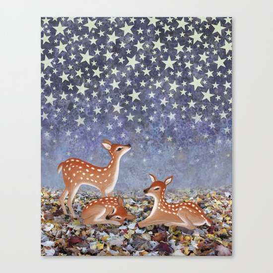 whitetail fawns under the stars Canvas Print