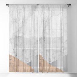 Geometric White Marble - Wood & Silver #157 Sheer Curtain