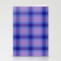 preppy Stationery Cards featuring Purple Plaid Preppy by michaelrosen