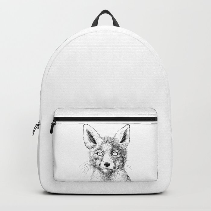 Fox portrait, ink drawing Backpack