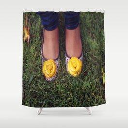 Yellow Flower Shoe! Shower Curtain